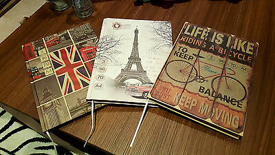 Vintage Retro Notebooks LOT.Paris UK . Hard covers A4 Collectable journals