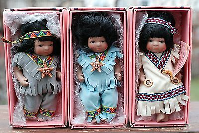 3 Kingstate Porcelain Little Indian Dolls with box doll