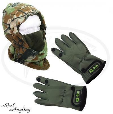 NGT Deluxe Snood & Q dos Neoprene Gloves Carp Sea  Fishing Hunting Camping.