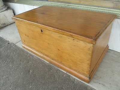 Regency / Georgian Antique Pine Blanket Box / Chest With Interior Drawers