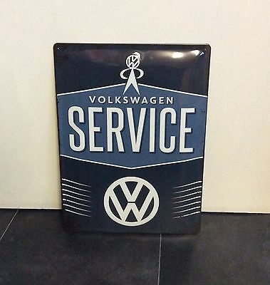 Volkswagen service. Large Advertising metal sign. Embossed sign VW bobble head