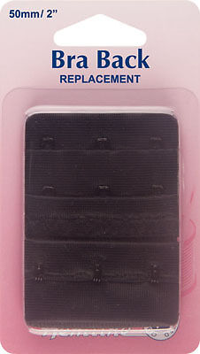 Hemline - Bra Back Replacement: Black 50mm