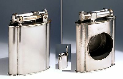 FRENCH POLAIRE ART DECO C 1930s WHITE METAL PLATED LIFT ARM PETROL TABLE LIGHTER