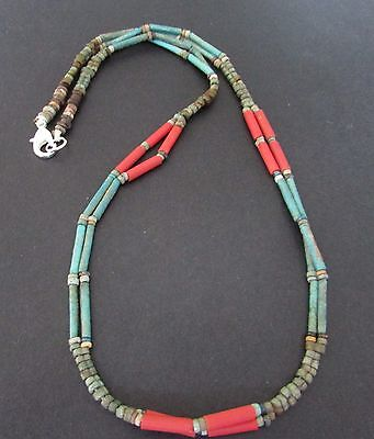 NILE  Ancient Egyptian Double Strand Glass and Mummy Bead Necklace ca 600 BC