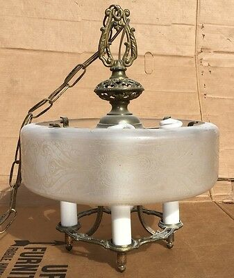 Antique Rare Lightolier Dinolier Art Deco Etched Glass Chandelier