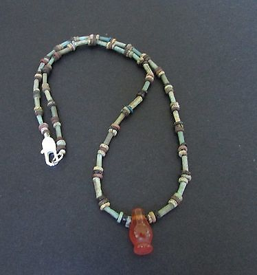 NILE  Ancient Egyptian Poppy Seed Amulet Mummy Bead Necklace ca 1000 BC