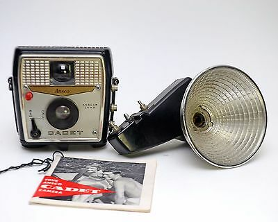 Vintage Ansco Cadet 127 Film Camera with Flash and Booklet