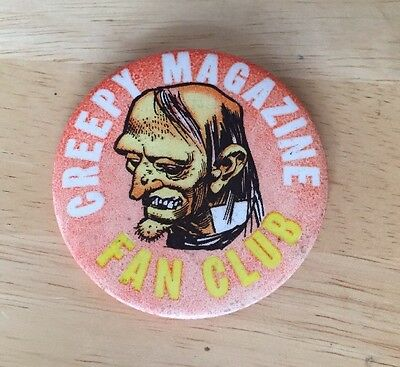 "VINTAGE 1968 CREEPY MAGAZINE FAN CLUB BUTTON BADGE PIN 2.5"" MONSTER HORROR Scifi"