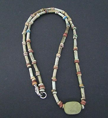 NILE  Ancient Egyptian Seal Amulet Mummy Bead Necklace ca 1000 BC