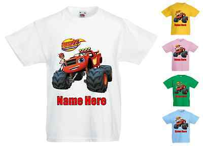 Childrens Kids Personalised T-Shirt Various Colours Blaze & The Monster Machines