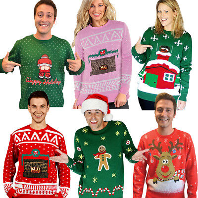 Digital Dudz Novelty Ugly Christmas Jumper Moving Animated Images Xmas Sweater
