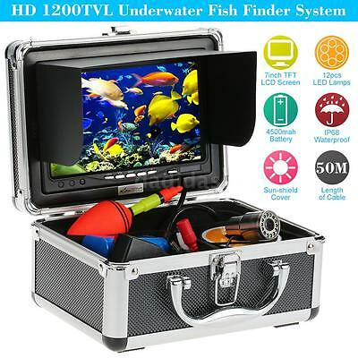 "50M 1200TVL Underwater Video Camera Fishing Fish Finder HD Colour 7""LCD TFT A1I1"