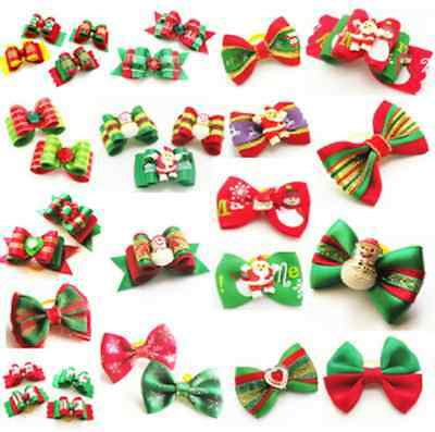 Christmas Dog & Puppy Hair Bands Top Knot Grooming Bows Dog Hairclips Accessory