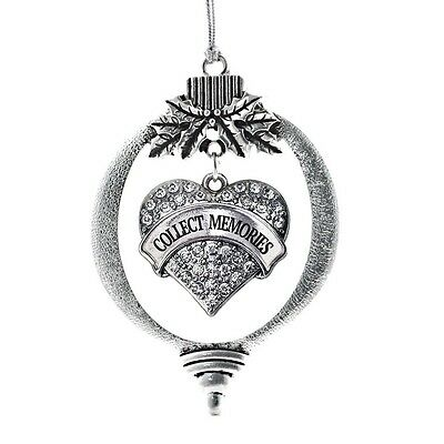 Inspired Silver Collect Memories Pave Heart Holiday Christmas Tree Ornament