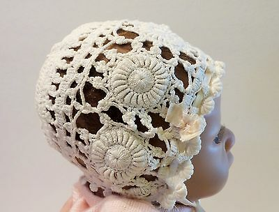 Antique Lace Crochet Baby Bonnet with Bullion or Roll Stitch Medallions