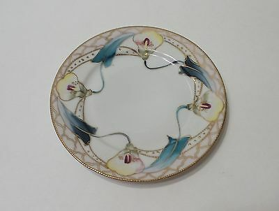 """Hand Painted Nippon Plate Floral 6"""" Gold Beading"""