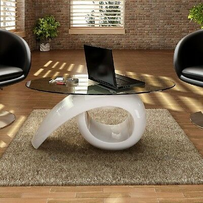 White Glass Top Coffee Table Living Room High Gloss Clear Modern Design