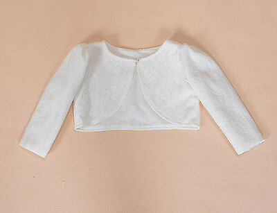 Cinda Lace Long Sleeve Baby Bolero Jacket 0-3 3-6 6-12 12-18 in White Ivory Pink