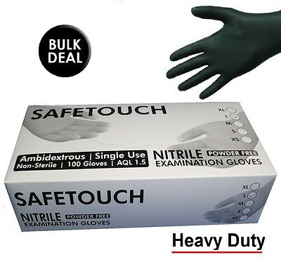 SafeTouch Strong Blue Black Nitrile Gloves Powder Free Tattooists, Barber, Auto