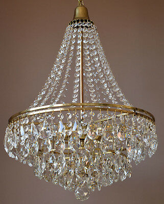 ANTIQUE Lustre French Vintage Crystal pear Chandelier Old Lamp 1950's Lighting