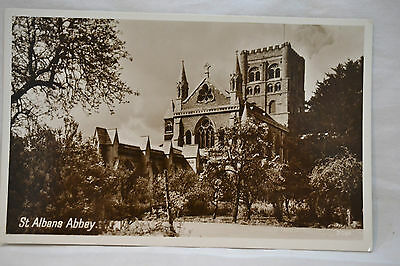 St Albans Abbey Old Postcard Real Photograph Unposted