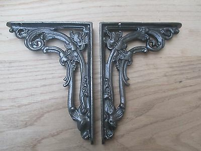 "Pair of 8"" ANTIQUE IRON VICTORIAN CAST IRON FOLIAGE SHELF WALL BRACKET CISTERN"
