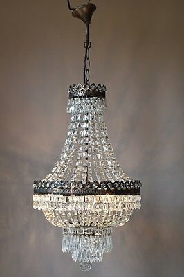 PURSE VINTAGE LAMP 1940's ANTIQUE FRENCH CRYSTAL LUSTRE OLD CHANDELIER LIGHTING