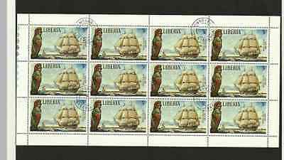 LIBERIA POSTAGE SHEET - FAMOUS SAILING SHIPS - AJAX 1809 - USED 3c STAMPS