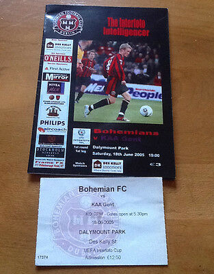 Bohemians V Gent 18/6/2005 Uefa Intertoto Cup With Match Ticket