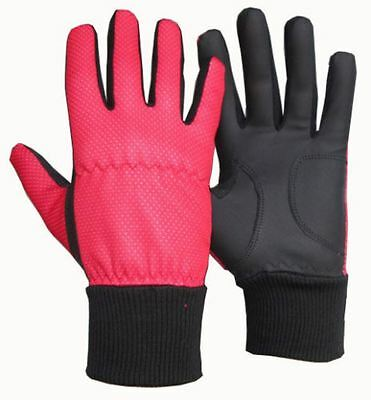 Pair of Ladies Winter Golf Gloves in Red&Black - Leather Palm/Thermal Wristband