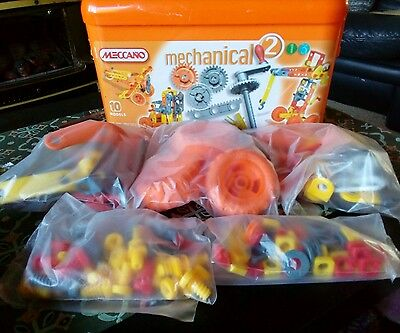 Meccano Mechanical 2 set in Orange carry case Perfect Gift Machines construction