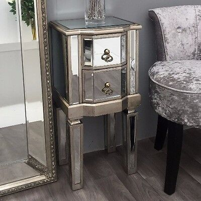 Tall venetian mirrored glass table with one drawer and mirrored legs