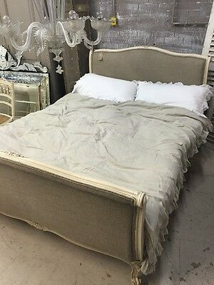 ANTIQUE FRENCH DOUBLE BED Newly Upholstered