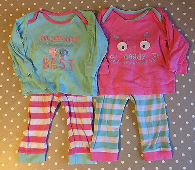 2 x Girls Pyjama Sleepsuit Outfits Sets 6-9 Months Mothercare