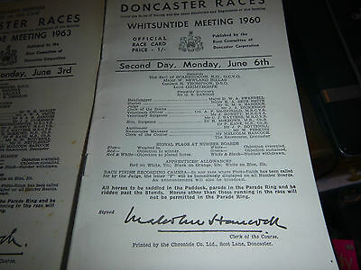 3 No Doncaster Horse Racing Cards  1955, 1960, 1963