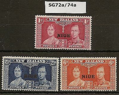 NIUE 1937 KGVI CORONATION SET WITH SHORT OVPT VARIETIES SG72A/74a MINT (3)
