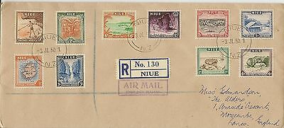 Niue 1950 Kgvi  Pictorial Definitives To 3/-  Vfu Sg113/22 On  Reg Fdc.