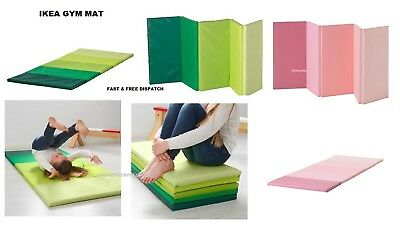 IKEA PLUFSIG Folding gym mat Exercise Kids Child Play soft green 78 x 185 cm NEW