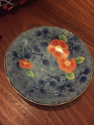 Japanese Vintage Bowl Dish Red Flowers