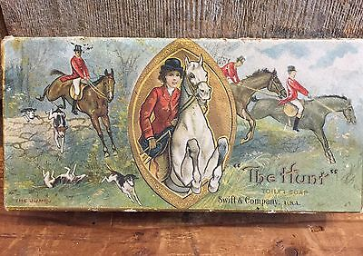 Rare Antique THE HUNT Toilet Soap Swift & Co. USA Box GREAT Hunting GRAPHICS