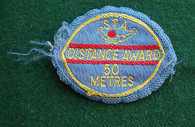 International S.T.A. Distance Award 50 Metres Patch/Cloth Badge Vintage Swimming