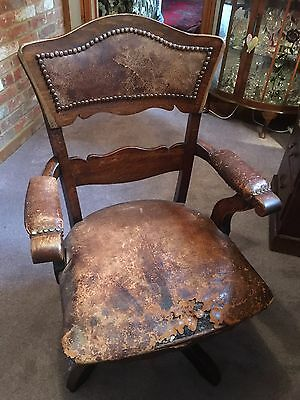 vintage swivel leather bankers chair