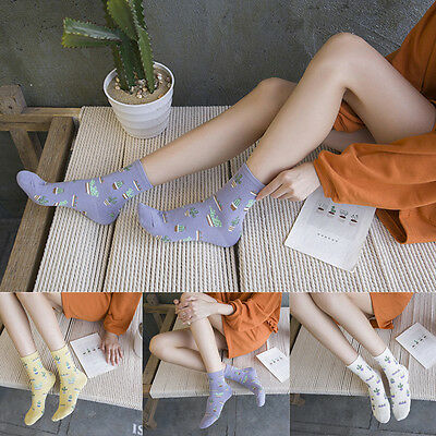 Fashion Women Harajuku Lovely Cactus Socks Cartoon Cotton Thick Hosiery 5 Colors