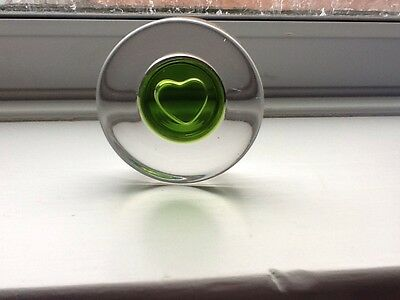 Wedgwood Green & Clear Art Glass Heart Paperweight Ornament