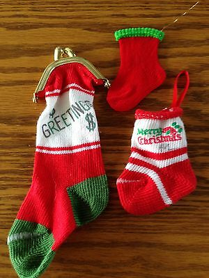 Vtg Christmas Mini Stockings Knitted Coin Purse Ornament ~3~ Different