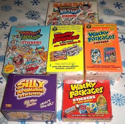 6-Box Lot Wacky Packages Ans1,ans2,ans3 & Silly Supermarket & Two More Boxes.