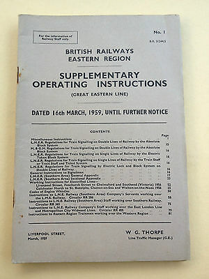 Supplementary Operating Instructions - BR ER Great Eastern - 16th March 1959