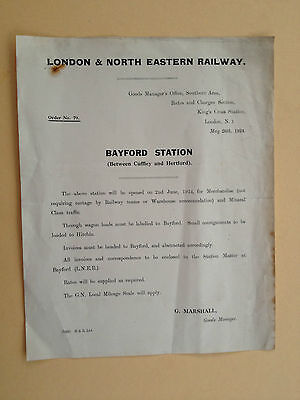 LNER Goods Managers Instruction Order - Bayford Station - May 26th 1924