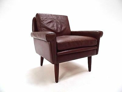Vintage Danish Tan Brown Leather Armchair Midcentury Chair 1960s