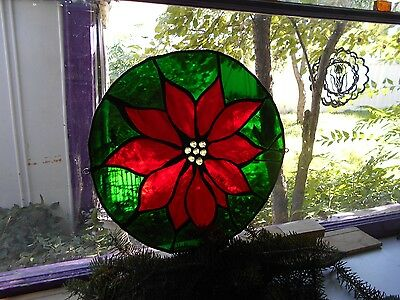 Stained Glass Window Panel Suncatcher Large  Poinsettia Christmas Art